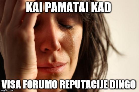 First World Problems Meme | KAI PAMATAI KAD VISA FORUMO REPUTACIJE DINGO | image tagged in memes,first world problems | made w/ Imgflip meme maker